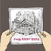 Ritning på ett papper med street café illustration i händerna. vektor. — Stockvektor