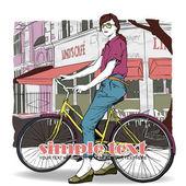 Jolie fille avec vélo sur un fond de café rue. illustration vectorielle — Vecteur