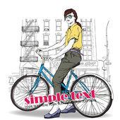 Chica bonita con bicicleta sobre un fondo de calle. ilustración vectorial — Vector de stock