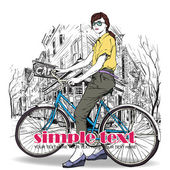 Pretty girl with bicycle on a street cafe background. Vector illustration — Vecteur