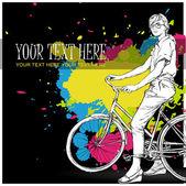 有自行车的漂亮女孩。矢量插画 — 图库矢量图片
