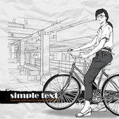 ładna dziewczyna z rowerem na stacji metra. ilustracja wektorowa — Wektor stockowy