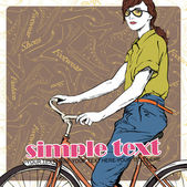 ładna dziewczyna z rowerem na tle obuwia. ilustracja wektorowa — Wektor stockowy