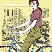 自行车街背景上的漂亮女孩。矢量插画 — 图库矢量图片