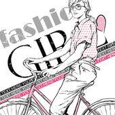 自転車できれいな女の子。ベクトル イラスト — ストックベクタ