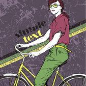 красивая девушка с велосипедов. векторные иллюстрации — Cтоковый вектор