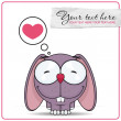 Vector illustration of cute cartoon bunny character and heart. - Stock Vector
