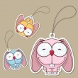 Set of tags with funny cartoon rabbit. Vector. - Stock Vector