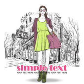 Garota verão linda sobre um fundo de rua. — Vetorial Stock