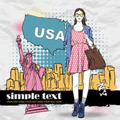 Lovely summer girl in sketch-style on a usa background. — Stock Vector