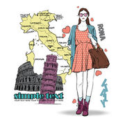Lovely girl in sketch-style on a italian background — Stock Vector