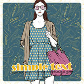 Lovely summer girl in sketch-style on a footwear background. — Stock Vector