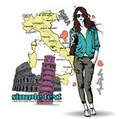 Lovely young girl in sketch-style on a italian background. — Stock Vector
