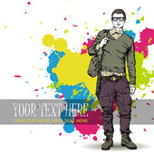 Fashion boy with bag and glasses in sketch-style on a grunge-background. Vector illustration. — Stock Vector