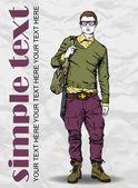 Snygg dude med väska på grunge bakgrund. vektor illustration. — Stockvektor