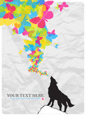 Abstract vector illustration with wolf and butterflies. — Stock Vector