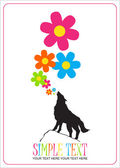 Abstract vector illustration with wolf and flowers. — Stock Vector