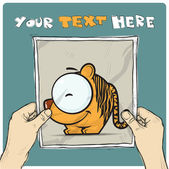 Drawing of a sheet of paper with cartoon tiger illustration in hands. Vector. — Stock Vector