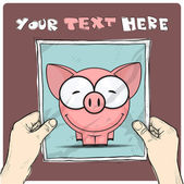 Drawing of a sheet of paper with cartoon pig illustration in hands. Vector. — Stock Vector