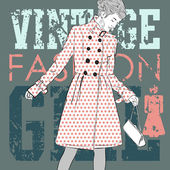 Lovely fashion girl on a grunge background. Vector illustration — Stock Vector