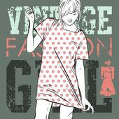 Fille belle fashion sur un fond grunge. illustration vectorielle — Vecteur