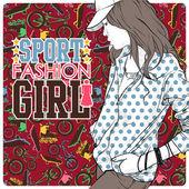 Pretty fashion girl in a train. Vector illustration — Stock Vector