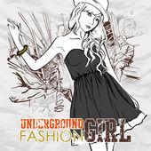 Fashion girl in a train. Vector illustration — Stock Vector