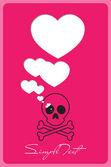 Abstract vector illustration with cranium and hearts. — Stock Vector