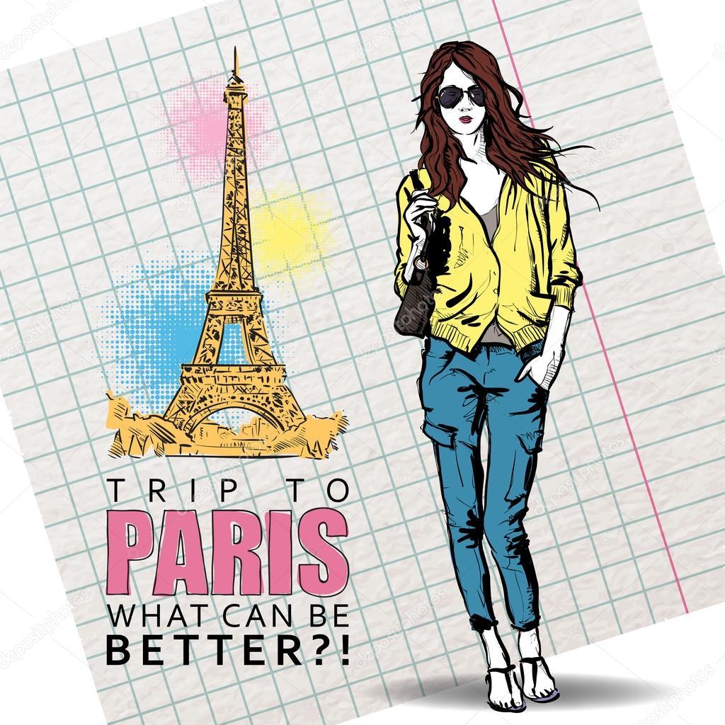 可爱的女孩在法国背景上的素描样式