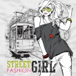 Vector illustration of a fashion girl and old tram. - Stock Vector