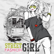 Vector illustration of a fashion girl and old tram. — Stock vektor