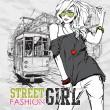 vektorové ilustrace módní dívka a historické tramvaje — Stock vektor