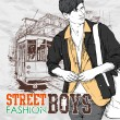 Vector illustration of a stylish guy and old tram. — Stock Vector