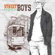 Vector illustration of a stylish guy and old tram. - Stock Vector