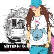 Vector illustration of a fashion girl and old tram. — Stock Vector #21364235