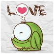 Vector illustration of cute cartoon frog character and heart. — Stock Vector #21364497