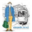 Vector illustration of a stylish guy and old tram. — Vettoriali Stock