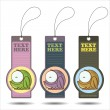 Set of tags with funny cartoon frog. Vector. — Stock Vector