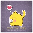 Animal greeting card with funny cartoon cat. — Image vectorielle