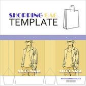 Template for paper shopping bag with girl character. Place for your info. — Stockvektor