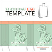 Template for paper shopping bag with girl character. Place for your info. — Stock Vector