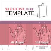 Kağıt alışveriş çantası kız karakteri ile şablonu. yer için senin haberdar etmek. — Stok Vektör
