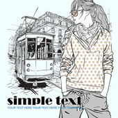 Vector illustration of a fashion girl and old tram. — Stock Vector