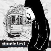 涂鸦字符和老电车矢量插图. — 图库矢量图片