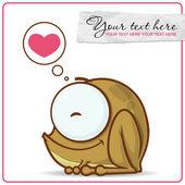 Vector illustration of cute cartoon frog character and heart. — Vecteur