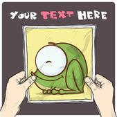 Disegno di un foglio di carta con illustrazione di cartone animato rana nelle mani. vector. — Vettoriale Stock
