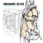 Mooie herfst mode meisje op een metrostation. vectorillustratie — Stockvector