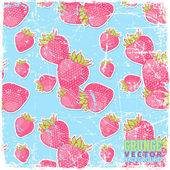 Vintage scratched background with strawberries — Stok Vektör