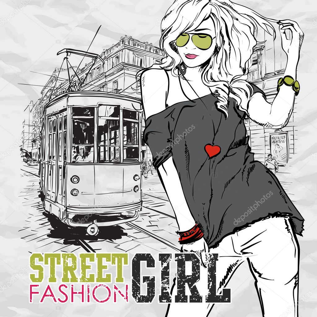 Vector Illustration Of A Fashion Girl And Old Tram Stock Vector R Lion O 21363933