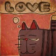 EPS10 vintage background with cartoon cat - 图库矢量图片